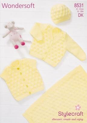 stylecraft knitting pattern 8531 baby layette